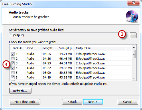 Select Output Folder & Check the Tracks