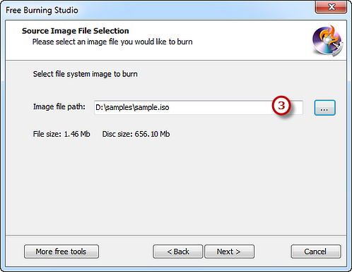 Select the ISO Image to Burn