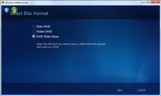 Burn Video DVD in Windows Media Center