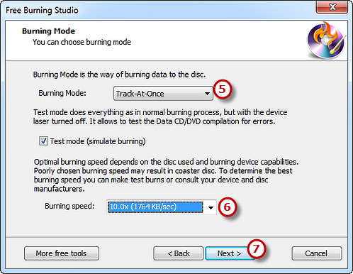 Choosing Burning Mode, Speed & Start Burning Process