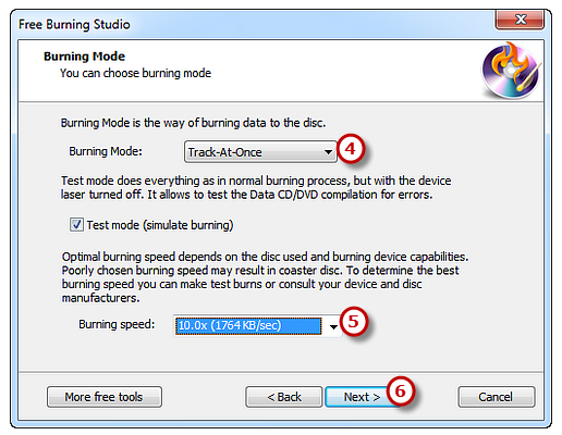 Select Burning Mode and Appropriate Speed